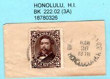 JHL HAWAII 35 w/ 1878 BLACK HONOLULU 222.02 CANCEL on FULL CORNER,  SCARCITY 3