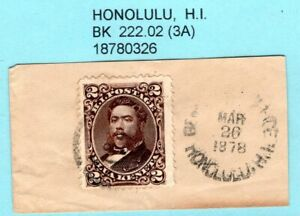 JHL HAWAII 35 w/ 1878 BLACK HONOLULU 222.02 CANCEL on FULL CORNER,  SCARCITY 3