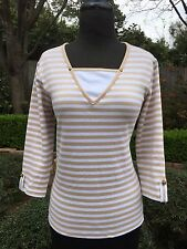 Anthropologie Sz S Drapers Damons STRIPED Knit TOP Nautical Anchor 3/4 Sleeves