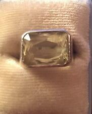 Vintage Sterling Silver .925 Faceted Citrine Ring Pre 1970 Size 4 1/2
