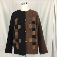 Sweater Coat XL Brown and Black Leather Accents Handcrafted in Italy Ines Bassi