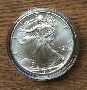 H285 US USA UNITED STATES 1994 1OZ $1 SILVER BU UNC EAGLE COIN IN CAPSULE