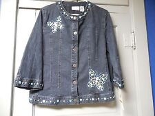 NWT Womens Size 14P Alfred Dunner Denim Jean Jacket w/ Shell Accent Butterfly