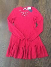 NWT Abercrombie Kids Embellished Red Holiday Sweater Dress 13/14