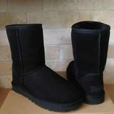 UGG Classic Short II Water-resistant Black Suede Fur Boots Size US 8 Womens