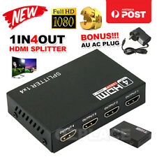 AU 1 In 4 Out 4 Port 1080P Full HD HDMI Splitter Hub Repeater Amplifier 3D