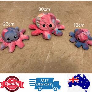 Double sided Flip Rainbow Octopus soft toy, Reversible Marine Animal,AU stock