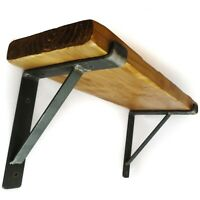 Rustic Chunky Shelf With Scaffold Board Shelf Brackets Wooden Handmade