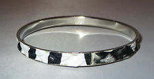 "Bangle Bracelet Zebra Print Silver Tone Black White 1/4"" Wide New"