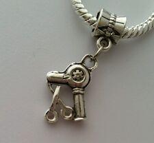 Scissors Blow Dryer Hair Stylist Dangle Bead for Silver European Charm Bracelets