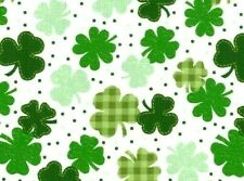 FAT QUARTER  SHAMROCKS  GINGHAM CLOVERS  ST PATRICKS DAY 100% COTTON FABRIC  FQ