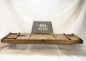 Expandable Bamboo Bathtub Caddy Bath Tray & Free Soap Dish - ROYAL CRAFT WOOD