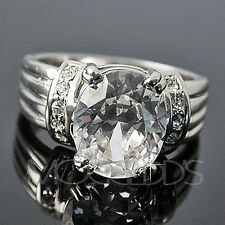 3.95ct SOLITAIRE simulated DIAMOND 14K White Gold & RHODIUM EP Ring
