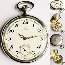 Rare Antique Omega Mechanical 15 Jewles Enamel Dial Mineral Crystal Pocket Watch