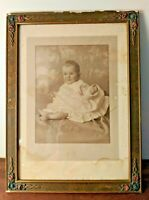 """Antique Vintage Baby Photo 1919  Ornate Wood Frame 15.5 x 11.5"""" Bachrach Picture"""