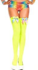 Rainbow Bow Thigh Highs Stockings Over the Knee Long Socks Ravewear School Girl