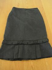 Ladies Cue Black Skirt Pleated Hem Lined Made in Australia Size 6