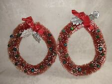 """Vintage Christmas 7"""" wreaths 2 Bottle Brush In Red w/ glass beads"""