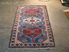 Vintage Caucasian Shirvan Hand Knotted Wool Rug 1950's 2'-5 x 4' Excellent Neat
