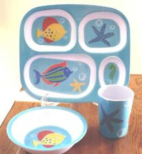 3 Piece Melamine Child's Dinnerware  4 section plate, cup, bowl  Fish Motif