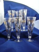 Mid Century Modern 6 Glasses Black Gold  Vintage Deco