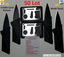 50 Lot, Credit Card Knife, 11 in 1 Multi tool, wallet thin pocket survival micro
