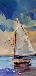 JOSE TRUJILLO Oil Painting IMPRESSIONISM CONTEMPORARY Sailing Sailboat Sea
