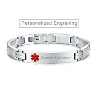 Medical Alert ID Chain Mens Bracelet Free Personalized Engraving Stainless Steel