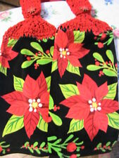 POINSETTIA~HOLLY~IVY~2 CHRISTMAS~HOLIDAY CROCHET TOP KITCHEN~BATH HAND TOWELS