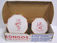 Vtg Set Bongo Drums in OB w Island Dancers Graphics Noble & Cooley 1960s