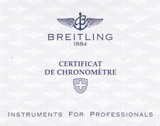 BREITLING CROSSWIND CERTIFICAT DE CHRONOMÉTRE CERTIFICAT CHRONOMETER 1995 I353