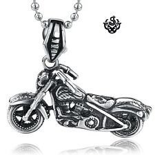 Silver skull motor bike pendant stainless steel 3D motorcycle bikies necklace