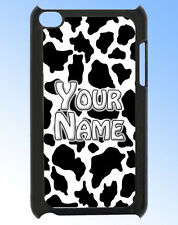 COW PRINT IPOD TOUCH 4 PERSONALISED REAR COVER / CASE -GREAT GIFT & NAMED TOO