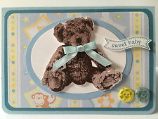 Handmade Baby Boy card with stamped teddy bear. Design #1 - animal background.