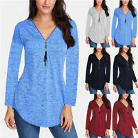 Womens Long Sleeve V Neck Tunic Tops Sweater Casual Cotton Blouse T-shirt S-5XL