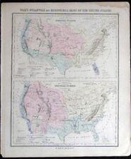 1882 ORIGINAL MAP ZOOLOGICAL BOTANICAL UNITED STATES HAND COLORED