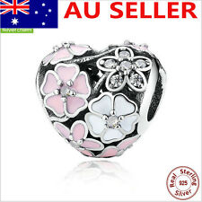 Heart shape color BLOOMS S925 Sterling Silver Solid European ENAMELCharm Bead 9#