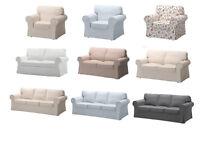 IKEA EKTORP One,Two,Three & Footstool Washable Sofa Slip Covers New