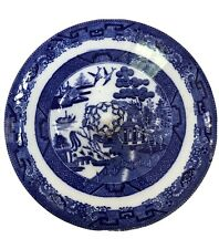 Antique Blue And White Willow Pattern Lid For Serving Dish, England, English