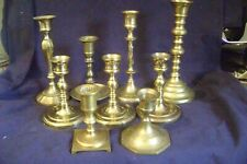 9 Assorted Brass Candle Holders