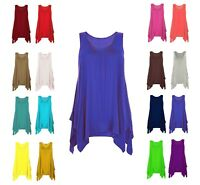 Womens hanky hem sleeveless scoop neck printed long tunic vest top lot 8-26^Hnky