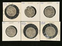Canada 50 Cent collection a/UNC UNC 6 coins