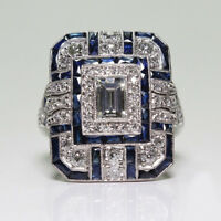 Super Huge London Blue Topaz White Zircon Gemstone Silver Woman Ring Size 6-10
