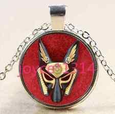 Vintage Anubis mask Cabochon Tibetan silver Glass Chain Pendant Necklace #2573