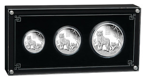 2022 Australia Lunar Year of the Tiger Silver Proof 3-Coin Set 2oz 1oz 1/2oz