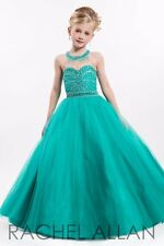 Perfect Angel 1648 Stunning Jade Green Pageant Girls Ball Gown Dress sz 10