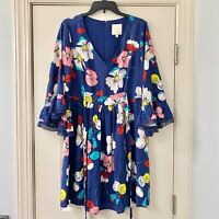 ModCloth Navy Floral Fit & Flare Dress Large