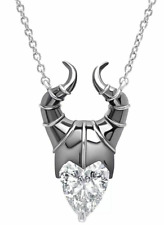 Disney Sleeping Beauty Maleficent 925 Silver Pendant Necklace Cubic Zirconia