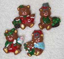 Lot of 4 Older Christmas Teddy Bear Refrigerator Magnets T75