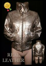 "Gold Leather Bomber Jacket (S) UK8 *BNWOT* Firetrap Pit-Pit 17"" Xmas Party Club"